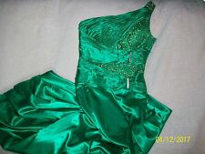 TERANI COUTURE GREEN SEQUINED AND BEADED GOWN DRESS WOMENS SIZE 12