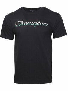 Champion-Split-Script-Logo-Jersey-T-Shirt-Men-039-s-Short-Sleeve-Crew-Neck-Cotton