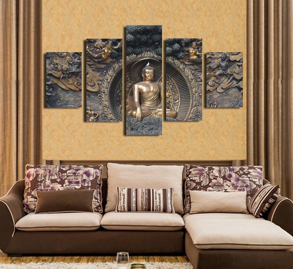 Buddha Statue Sculpture 5 Panel Canvas Print Wall Art