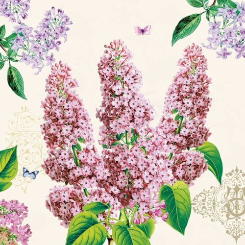 4 Lunch Paper Napkins for Decoupage Party Table Craft Vintage Flo Lilac
