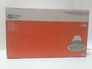 Commercial Electric 6 in White Baffle Recessed Air Tight Light Trim T49 6 pack