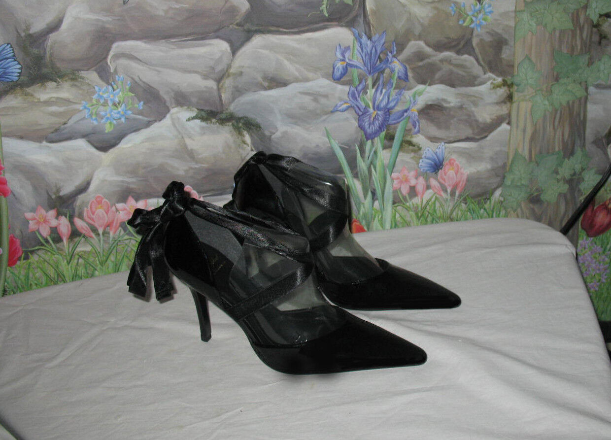 New BABY PHAT Ribbon Pump Black Patent Leather Ankle Wrap shoes Heels 8