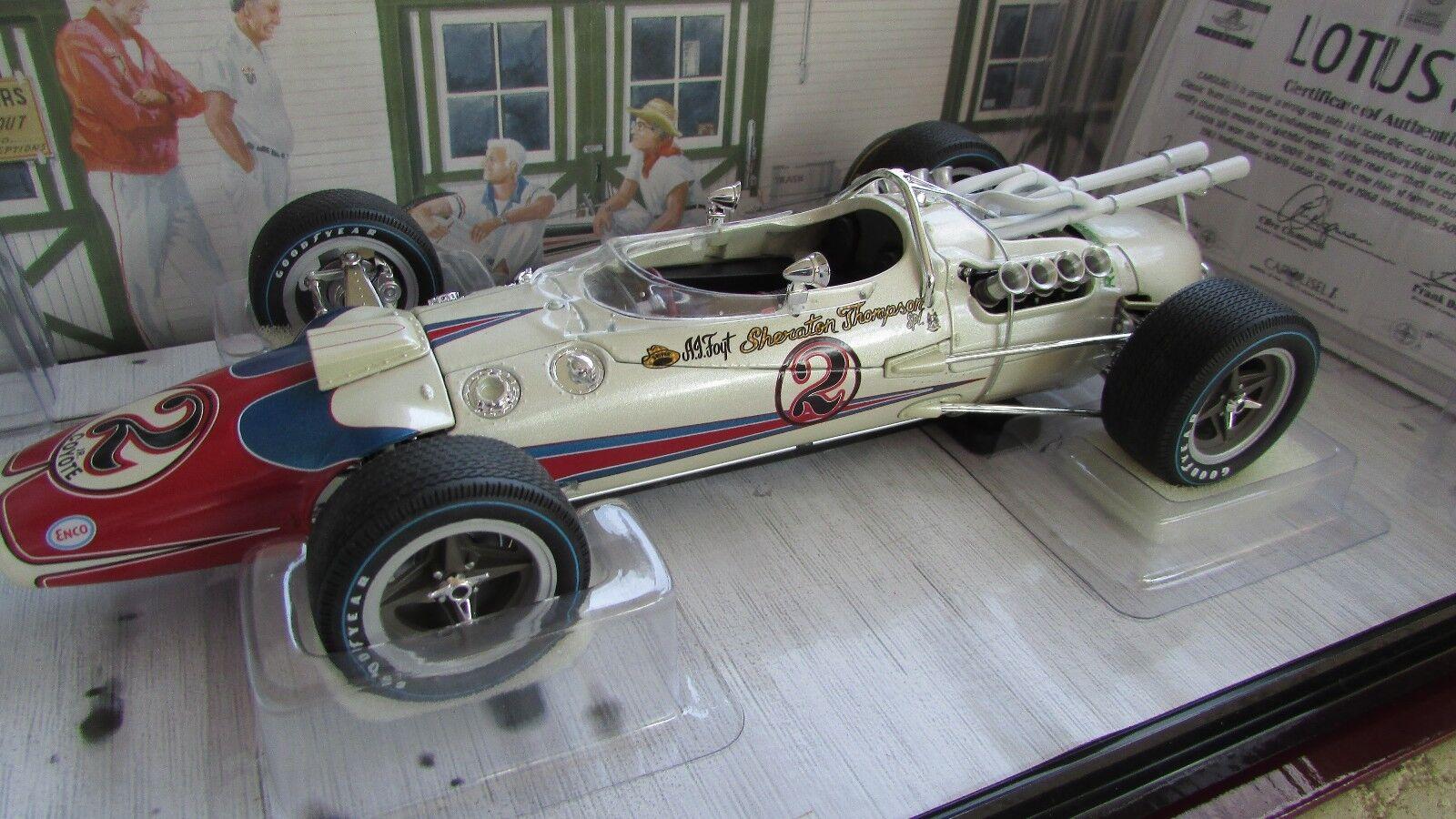 Un J Foyt Carousel 1 1966 Lotus 38 Indy 500 Race Car Ford en 1 18 Original Bx certificado de autenticidad