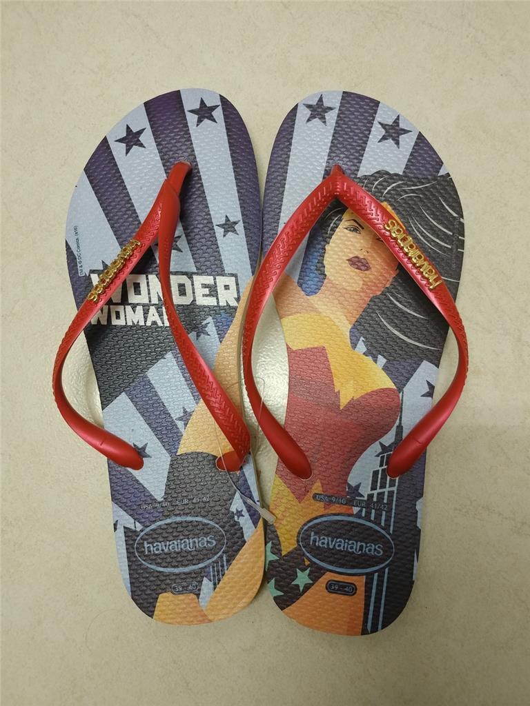 Havaianas Womens Slim Wonder Woman Flip Flops Limited Edition US 9 10 EU 41 42