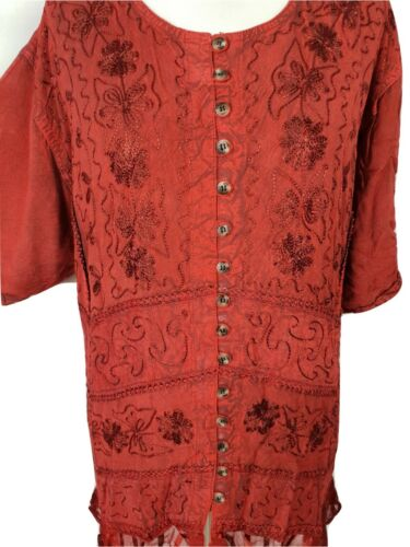 Plus Size Half Sleeve Boho Top Tunic Blouse Embroidered 22 24 26 28 30 32 34
