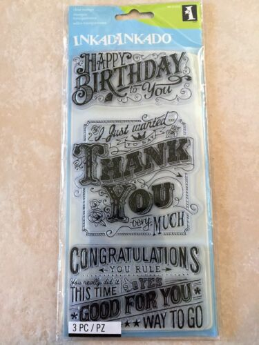 Inkadinkado Clear Acrylic Stamps Express Yourself, Thanks Birthday 60-31319 NEW