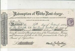 H.M.&W. Crellier Surveyors Valuers 1894 Rent Charge Stamp Receipt Ref 33853