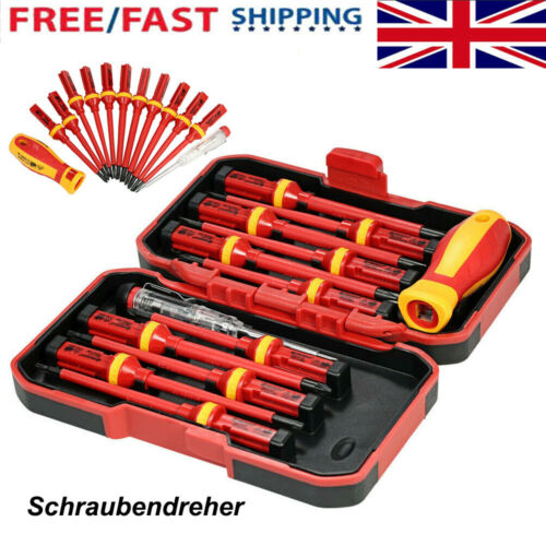13pc Electricians Hand Screwdriver Set Tool 1000V Electrical Fully Insulated Kit