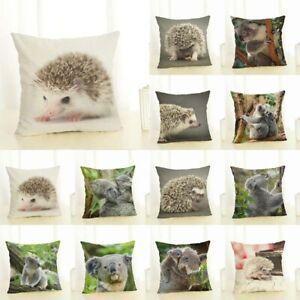 Home Decoration Cover Linen Waist Animal Koala Hedgehog Pillow Car Case Cushion