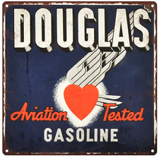 Douglas Gasoline Aviation Gas Vintage Look Advertising Metal Sign 12 x 12  60017
