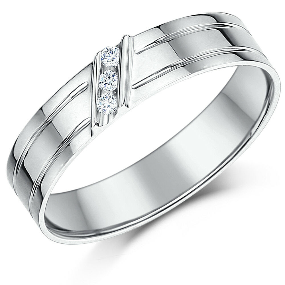 9ct White gold Ring 5mm Grooved Diamond Set Ring