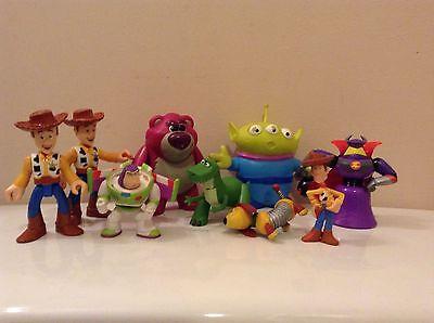 "lot of 9 Disney Toy Story Alien Buzz WOODY pvc figures  2""-3"" mixed sizes"