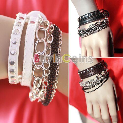 Fashion Punk Rock Multi-layer Chain Stud Rivet Leather Bangle Bracelet DHUS