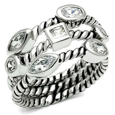Ladies Triple Band Multiple Shape Clear Stones Silver Rhodium EP Ring