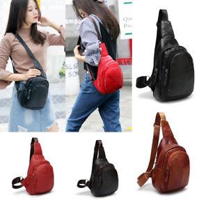 Womens Men Genuine Leather Sling Bags Chest Shoulder Pack Crossbody ... 68ec6b32a