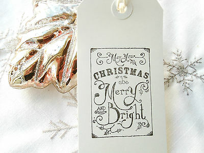 10 White Merry and Bright Christmas Gift Tags Handmade Vintage Style
