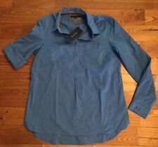 NWT Women's Bright Blue TOMMY HILFIGER Roll Tab Sleeves Button Front Shirt 2XL