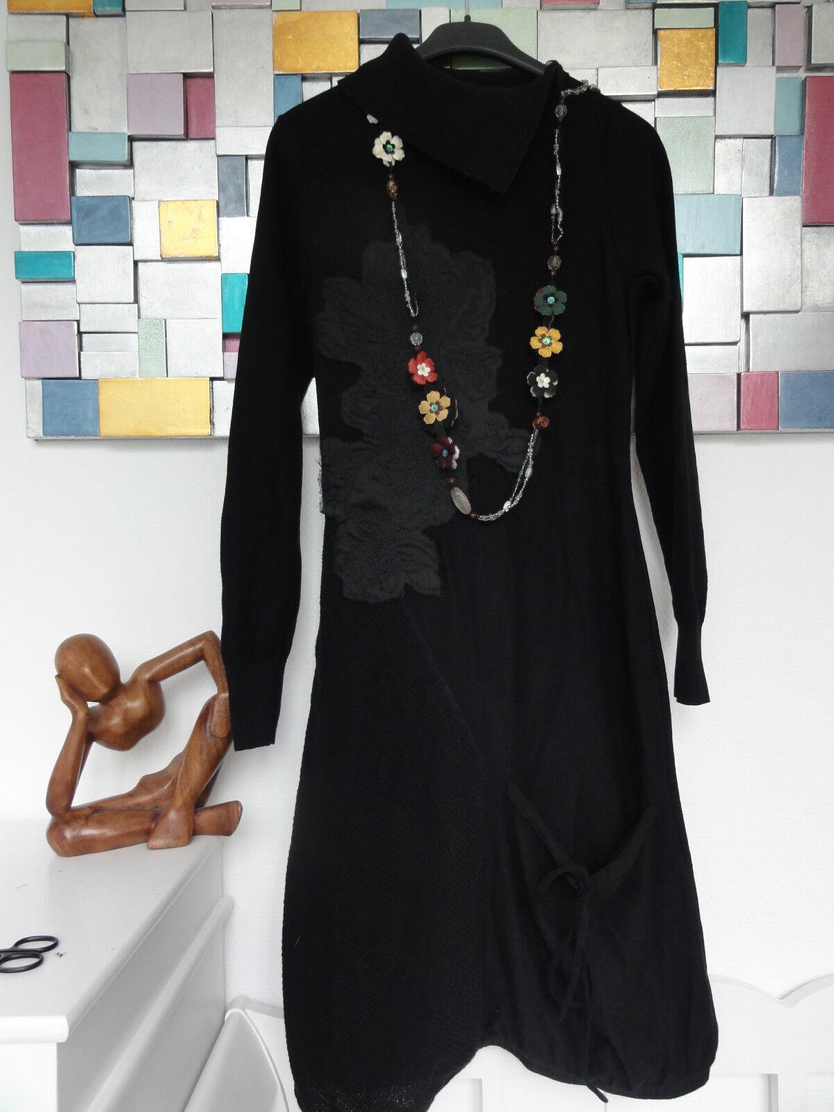 TUZZI Strickkleid Kleid Schwarz in Ballonform Gr. 36 38 100% Baumwolle       S31