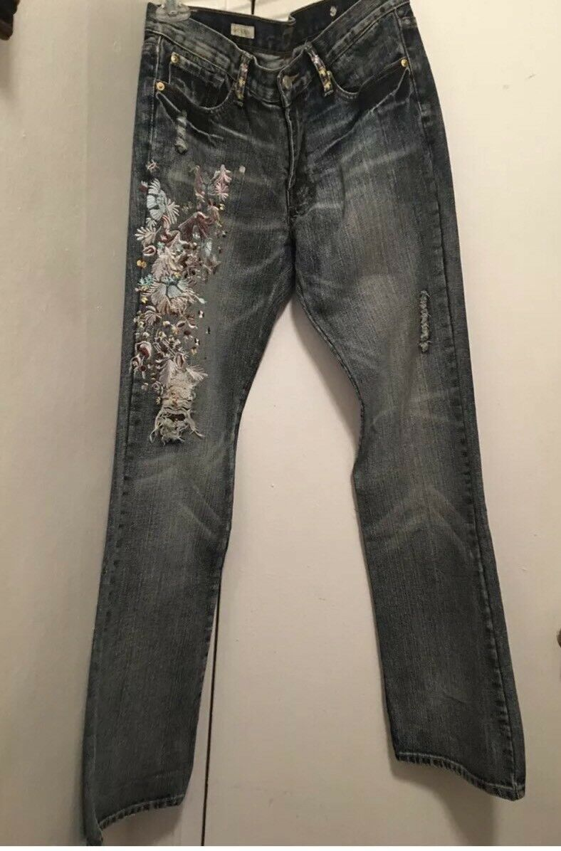 610799a5c ZAC POSEN 7 ALL MANKIND LIMITED EDITIION EMBROIDERED EMBROIDERED  EMBROIDERED DISTRESSED BOHO JEANS Sz 25 d251af