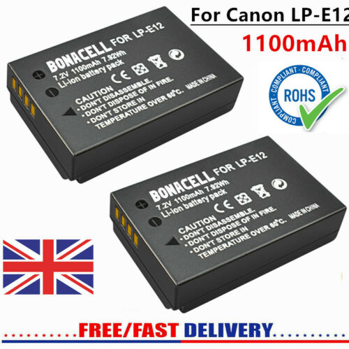 2× Replacement LP-E12 Battery For Canon EOS M Rebel SL1 100D EOS 100D M2 Camera