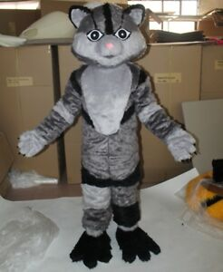 7af9ded1a Image is loading Halloween-Gray-Furry-Cat-Costume-Mascot-Cosplay-Party-