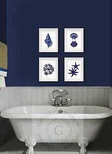 Navy blue beach wall art decor set of 4 unframed prints for Home decor 4 u