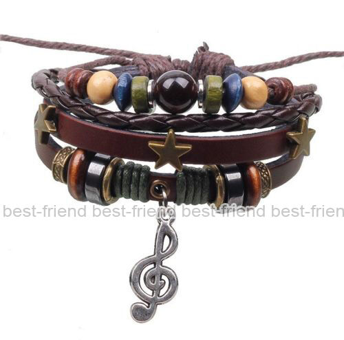 New Fashion Handmade Infinity Vintage Silver Friendship Charm Leather Bracelet