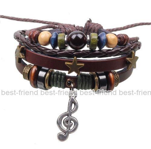 New Fashion Handmade Infinity Vintage Silver Friendship Charm Leather Bracelet