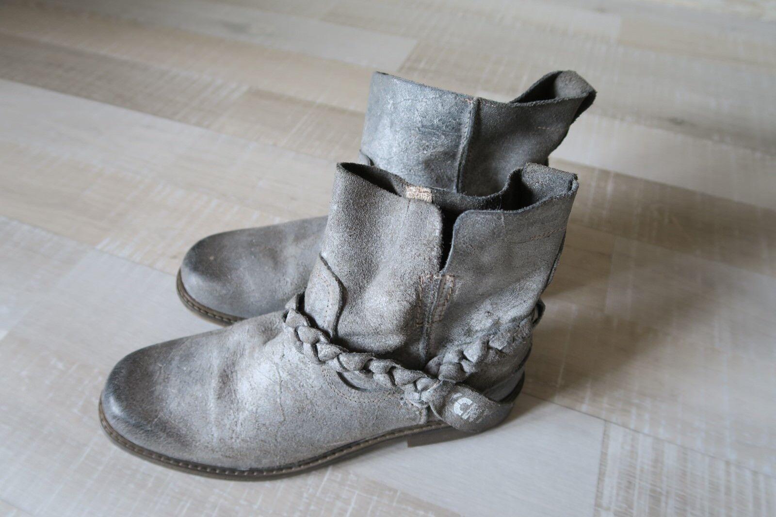 Stiefel, Stiefeletten von Gelb Cab, Gr. 41, Leder, Grau Used