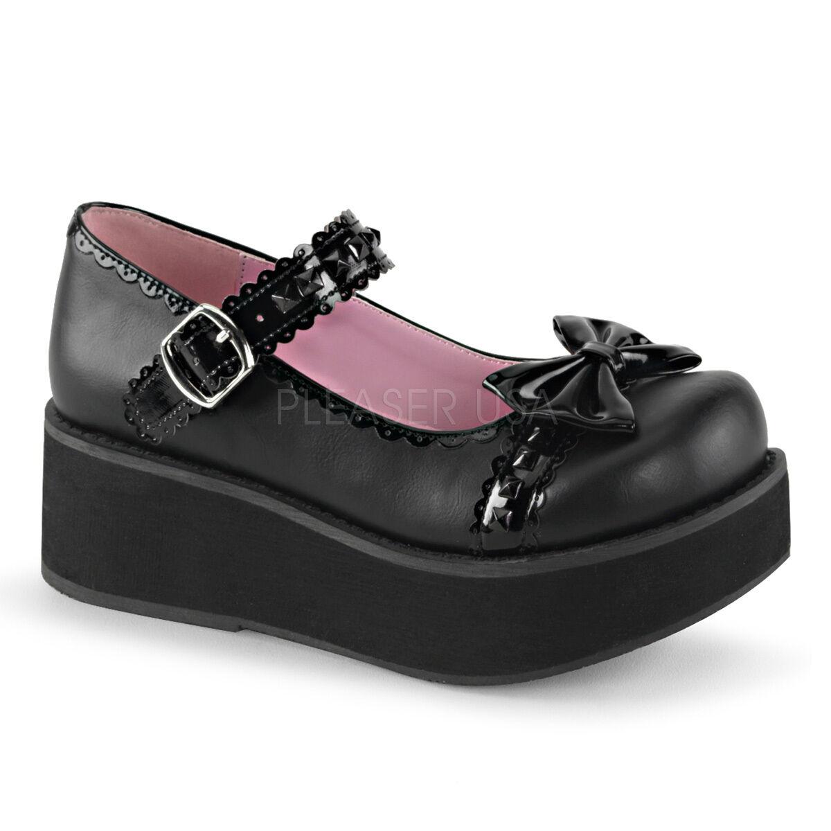 DEMONIA Gothic Lolita 2 1 4  Platform Studded Black Mary Janes shoes