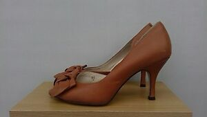 Marks-And-Spencer-Autograph-Peep-Toe-tan-leather-Shoes-Size-5-1-2-bow-trim