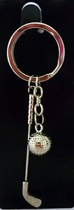 SILVER-KEYRING-WITH-GOLF-CLUB-amp-GOLF-BALL-GREAT-FATHER-039-S-DAY-OR-BIRTHDAY-GIFT