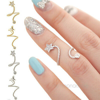 Hot Sale Chic Crystal Rhinestone Starfish Butterfly Flower Spiral Opening Rings