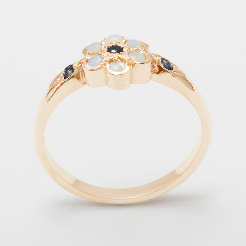 Solid 10k pink gold Natural Sapphire & Opal Womens Cluster Ring - Sizes 4 to 12