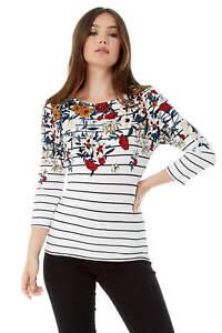 Roman-Originals-Women-039-s-Stripe-Floral-Top-Sizes-10-20