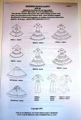 NG Creations Sewing Pattern #PP4 Western Dance fits Barbie /& Ken Dolls