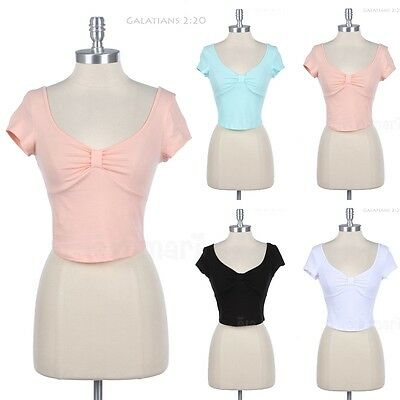 Plain Knotted Front Short Sleeve Scoop Neck Cropped Top Deep Back Sexy and Cute