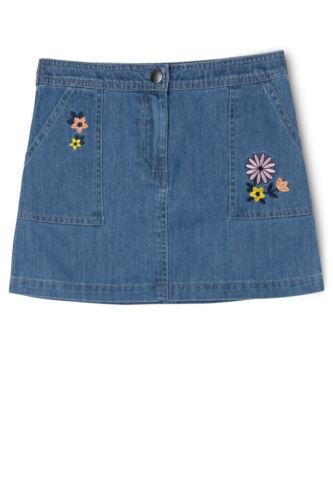 Girls Eves Sister Denim Skirt Festival Kids Blue Floral Flower Embroidered