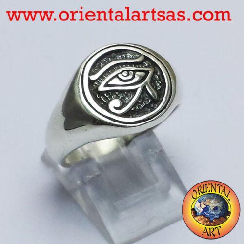 Anello Occhio di horus in argento 925 occhio di Rha o Ra amuleto egiziano