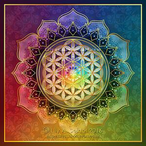 Blume-des-Lebens-Lotus-10-5cm-Sticker-Flower-of-Life-Heilige-Geometrie-Mandala