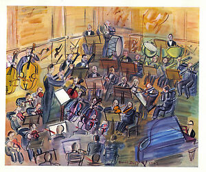 Raoul-Dufy-1942-GRAVURE-PRINT-with-COA-perfect-ORCHESTRA-music-gift-of-RARE-ART