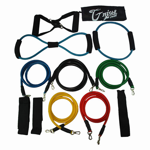 New 13 pcs Resistance Fitness Exercise Bands tube home door set