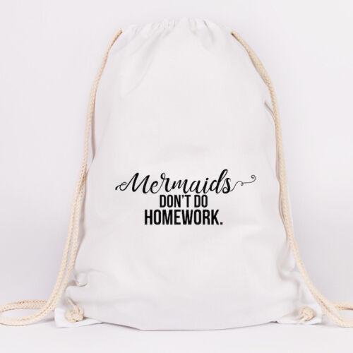 "Farben Tasche JUNIWORDS Turnbeutel Motiv /""Mermaids don´t do homework/"" versch"