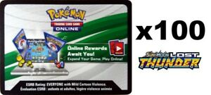 POKEMON TCG SM LOST THUNDER PTCGO : ONLINE VIRTUAL CODE CARD X 100