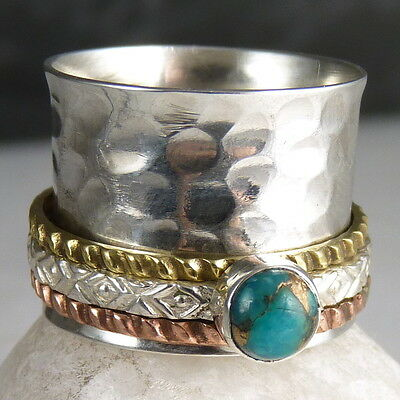 Hammered SPINNER Sz US 6.25 SilverSari Fidget RING Solid Silver COPPER TURQUOISE