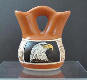 Native American Indian Etched Eagle Wedding Vase Arnold