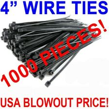 1000 Pack 4 Inch Zip Cable Ties Nylon Black 18 Lbs Uv Weather Resistant Wire