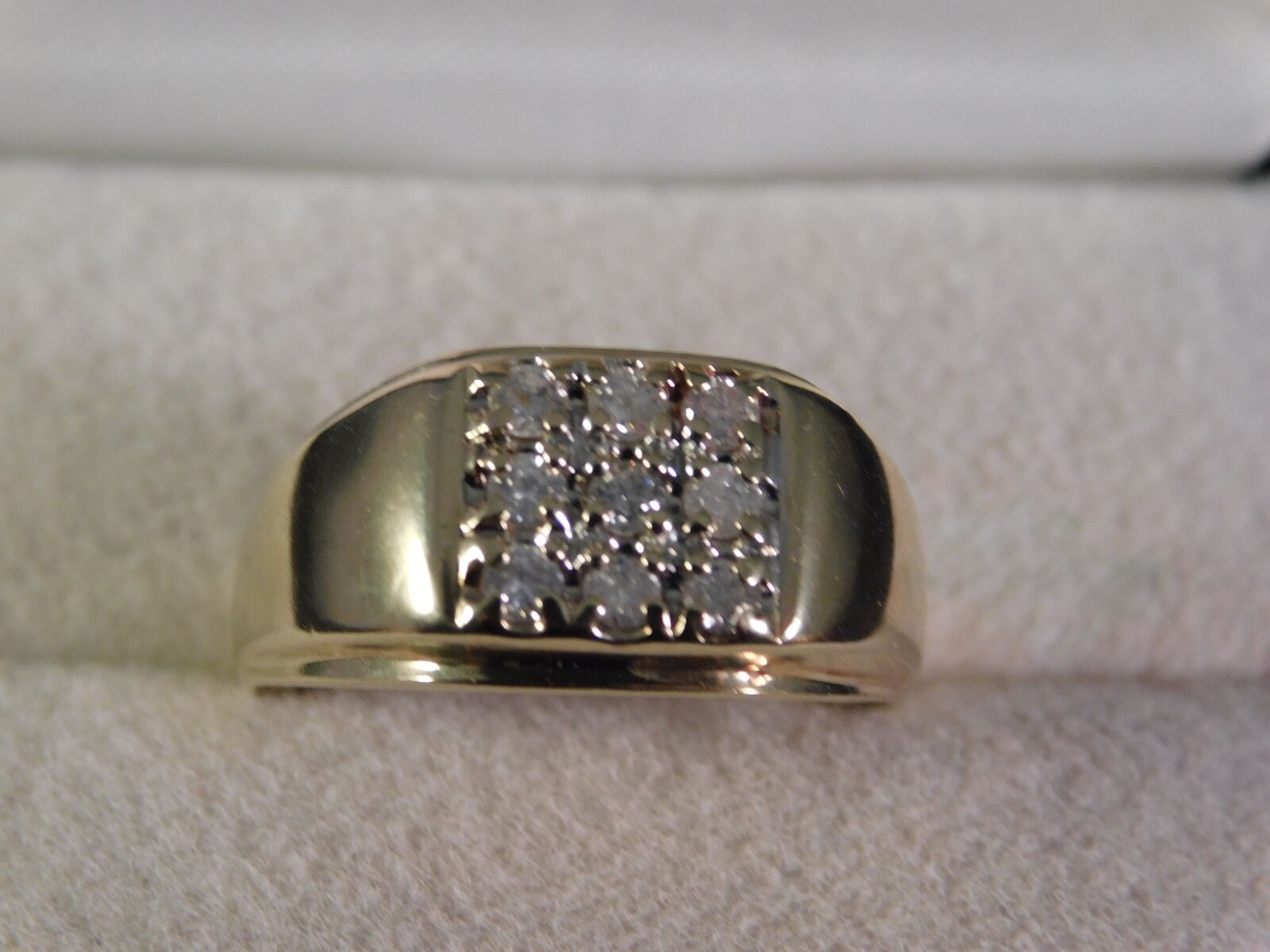 Gents .72 Ct. Diamond Cluster Ring April Birthstone10K Yellow gold