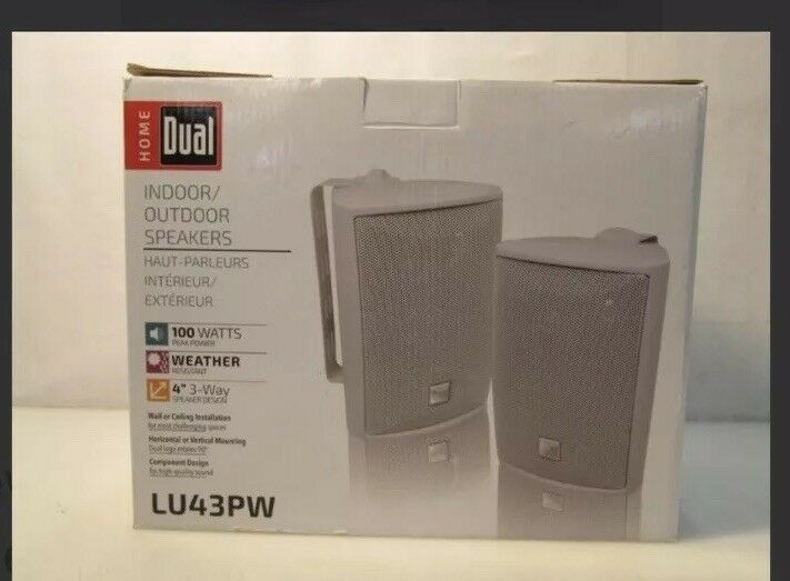 Dual Electronics LU43P Main   Stereo Indoor Outdoor Speakers - White