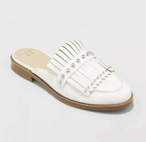 Women-039-s-White-Karoline-Studded-Fringe-Backless-Loafer-Mules-A-New-Day-Size-6-5